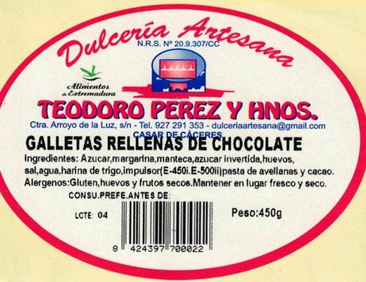 Galletas artesanas rellenas de chocolate