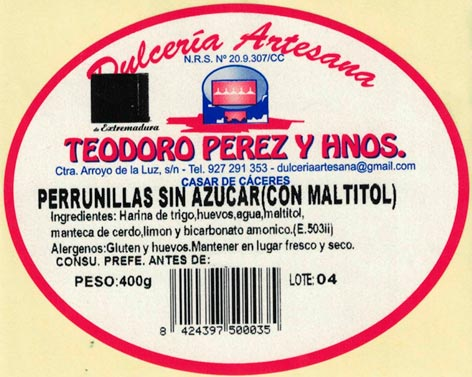 Perrunillas sin azucar en Cáceres